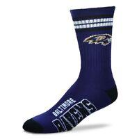 Baltimore Ravens For Bare Feet NFL 4-Stripe Deuce Crew Socks SZ M