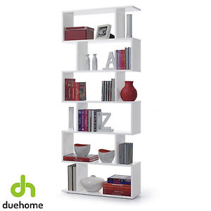 Estanteria alta abierta 6 estantes, estantería moderna, Blanco Brillo, Athena