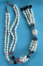 NECKLACE Cultured Freshwater PEARLS & Glass beads 2 Strands with Tassel Gift