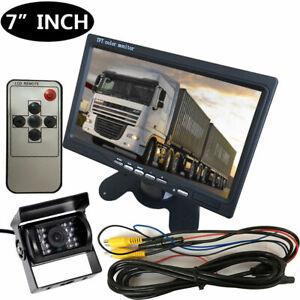 "12V/24V Car Reversing Camera RCA+ 7"" LCD Monitor Truck Bus Van Rear View Kit+10M"
