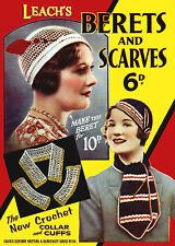 Leach's 6D #156 c.1935 Vintage Patterns for Millinery Berets & Scarfs in Crochet