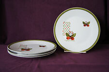 Lot of 4 Georges Briard butterfly & dots porcelain luncheon dinner plates 8-1/4""