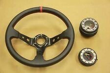 BLACK/RED DEEP DISH STEERING WHEEL+ HUB ADAPTER+QUICK RELEASE CIVIC CRX INTEGRA