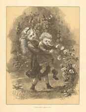 Children, Butterfly, Catch Him, Brother & Sister Vintage 1873 Antique Art Print,
