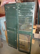 Pr victorian louvered house window Shutters Old green paint 61.5 x 17 3/8""