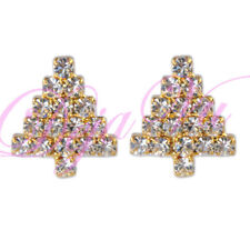 CRYSTAL CLEAR WHITE CHRISTMAS TREE EARRINGS MADE WITH SWAROVSKI ELEMENTS
