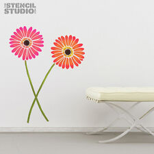 Gerbera Stem Flower Stencil, reusable  wall stencil for decorating   10088