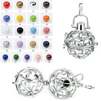 Silver Flower Locket Chime Sound Harmony Ball Pendant Mexican Bolas Angel Caller