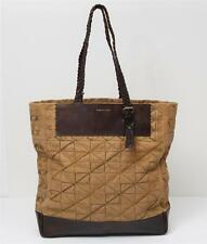 DRIES VAN NOTEN Tan+Brown Canvas+Leather Embroidered Braided Handle Tote Bag
