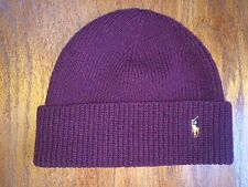 NWT POLO RALPH LAUREN MERINO LAMBSWOOL AGED WINE HEATHER CAP SKULLY BEANIE