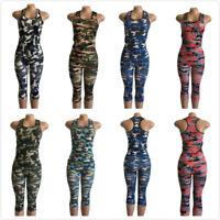 2 Pieces Women Sportswear Sleeveless Yoga Suit Fitness Workout Tracksuit