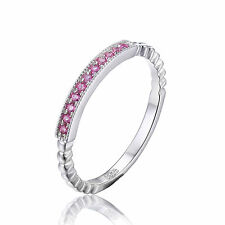 0.01ct Lovely Pink Sapphire Eterninity Ring Pure Sterling Silver  Size 7 Gift