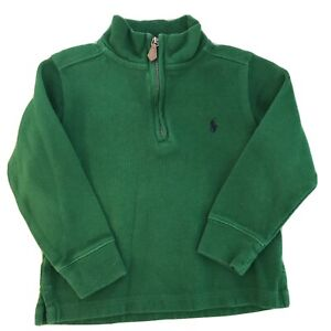 Polo Ralph Lauren Sweater Pullover Toddler Boys 4T 1/4 Zip Green Blue Pony L/S