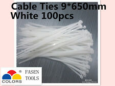 100Pcs White Electrical Nylon Cable Zip Ties (9mm x 650mm) UV Stabilised