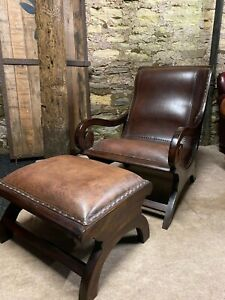 Vintage Leather CHESTERFIELD Library Slipper Plantation Chair & footstool