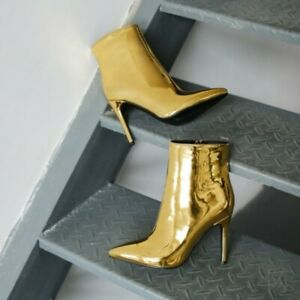 Women's Metallic Ankle Boots 10.5cm High Heel Pointed Toe Gold Silver Nightclub