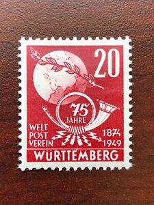 Germany Wurttemberg French Occupation 1949 Scott #8N40 UPU Mint LH
