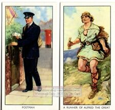 Comparing Saxon Era Mail Runner and Modern Postal Delivery TWO  Vintage Ad Cards