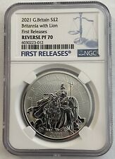 More details for 2021 g britain britannia silver proof £2 reverse pf70 first releases