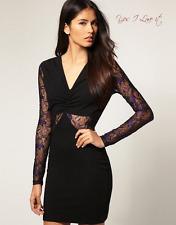 Paprika Party Evening Dress With Lace Cut-Out Detail Purple Black UK10 EU36