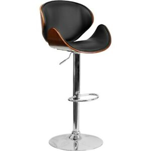 Flash Furniture Walnut Contemporary Barstool, Black, Walnut - SD-2203-WAL-GG