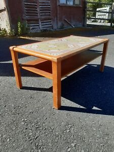Ox art Danish style. retro beech Tiled Coffee Table.
