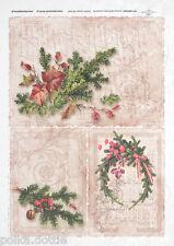 Rice Paper Decoupage Scrapbook Vintage Christmas Wreath Script Music Shabby Chic