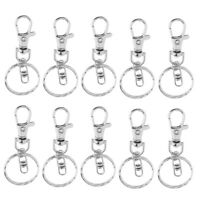 10pcs Silver Lobster Claw Clasp Keychain Key Ring Jewelry Findings