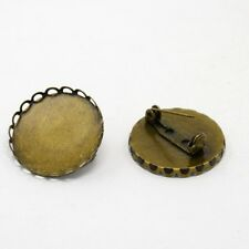 5PCS Pad Antique Bronze Brass Flat Round Cabochon Base Settings Brooch Backs