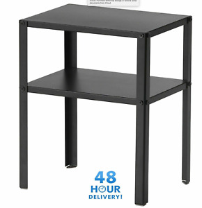 Bedside Cabinet KNARREVIK Black Metal Coffee Table With Shelf 37x28X45cm