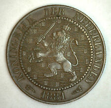 1881 Netherlands 2.5 Cent Coin 2 1/2 Penny Currency XF