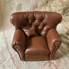 Pat Tyler Dollhouse Miniature Leather Writing Club Chair Seat W/Pillow p1013