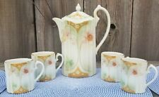 VTG. MCM REPRODUCTION SUHL RS PRUSSIA SET OF COFFE POT AND 4 CUPS FLORAL