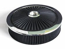 SUPA FLOW AIR CLEANER BLACK CHROME 14 X 3 - 5 1/8 INCH HOLE RECESSED DROP BASE