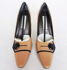 New Monzo & Franco Womens Shoes Pumps High Heels Dress Leather Tan Black Sz 8.5M
