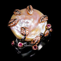 Baroque Pearl Ring Silver 925 Sterling Handmade Size 8.25 /R128569