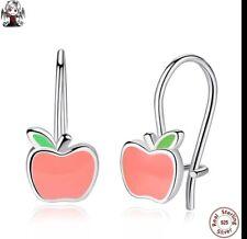 e4da33f1d770 Pendientes plata ley gancho manzana rosa
