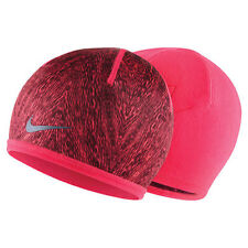 NIKE  RUN COLD WEATHER REVERSIBLE BEANIE/HAT PUNCH/ BURGUNDY WOMEN'S FIT MOST