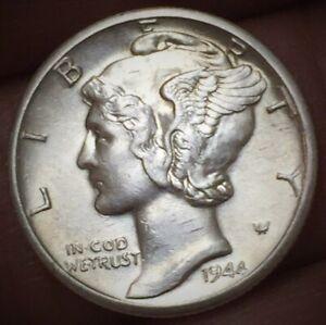1944 D Mercury Dime Brilliant Uncirculated 90% Silver Coin BU