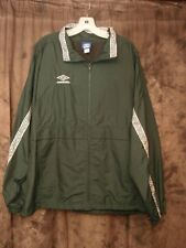 UMBRO Windbreaker Mens SIze X-Large Nylon Forest Green White Vented EUC