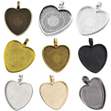 10pc Heart Cabochon Silver Plated Pendants Bezel Trays Base Fit 25mm Glass FH