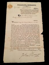 AMERICANA. LETTER OF ADMINISTRATION COMMONWEALTH OF MASSACHUSETTS 1817