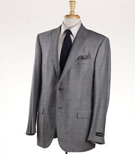 NWT $3095 ERMENEGILDO ZEGNA Gray Check Wool-Cashmere Suit US 48 R Fit Milano