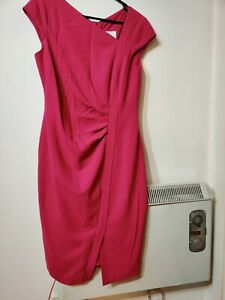 L K BENNETT DR TASSA  DRESS UK14 US 10  RASBERRY 64% POLYESTER 33% VISCOSE