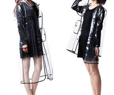 Women Girls Men Transparent Hoodie Clear Rainwear Runway PVC Raincoat Rain Coat