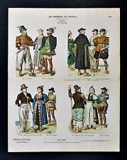 1880 Costume Print 16th Century Dutch Dress of Friesland NW Holland Netherlands