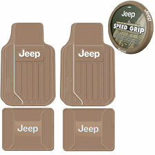 New 5pc Tan Beige JEEP Elite Front Rear Rubber Floor Mats & Steering Wheel Cover