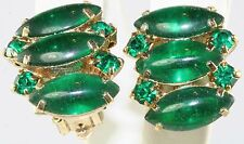 VTG OLD STORE STOCK JULIANA GREEN POURED GLASS & RHINESTONE CLIP EARRINGS