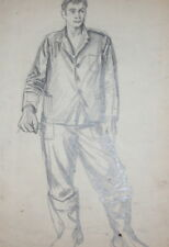 Vintage pencil drawing young man portrait signed  FREE SHIPPING