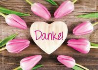 "DIN A6 Postkarte Grußkarte Dankeskarte Herz auf Holz Tulpen Danksagung ""Danke!"""
